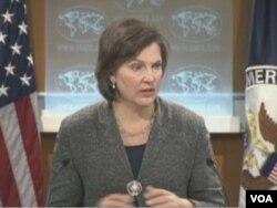 美国国务院发言人卢岚(美国之音视频截图)
