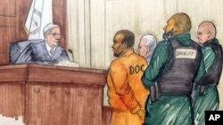 Desenho da audiência de R. Kelly em tribunal a 25 de Fevereiro de 2019, em Chicago.