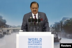Pakistan's President Mamnoon Hussain speaks during the opening ceremony of the 2nd annual World Internet Conference in Wuzhen town of Jiaxing, Zhejiang province, China, Dec. 16, 2015.