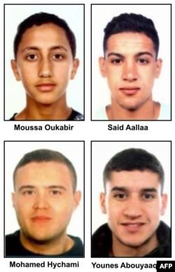 """Fotos disponibilizadas pela polícia catalã """"Mossos D'Esquadra"""" mostra quatro suspeitos dos ataques em Barcelona e Cambrils (de cima para baixo, da esq. para dir.) Moussa Oukabir, Said Aalla, Mohamed Hychami e Younes Abouyaaqoub."""
