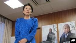日本绑架问题担当大臣山谷惠里子在东京办公室对记者谈话。(2014年9月17日)