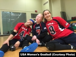 2016 Paralympians, from left, Asya Miller, Marybai Huking and Eliana Mason at a goalball training camp held in July at the Washington State School for the Blind in Vancouver, Washington.