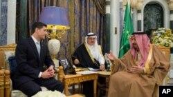 Raja Saudi Salman bersama Ketua DPR AS Paul Ryan, di Riyadh, Arab Saudi, Rabu, 24 Januari 2018.