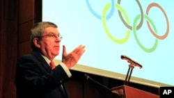 IOC President Thomas Bach speaks during a sporting awards ceremony of Greek athletes in Athens, Jan. 27, 2016.