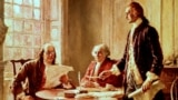 From the left, Benjamin Franklin, John Adams and Thomas Jefferson revise the Declaration of Independence, a document which today may have have been labeled as extremist rhetoric. (Painting by Jean Leon Gerome Ferris)