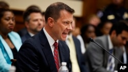 "FILE - FBI Deputy Assistant Director Peter Strzok testifies before the House Committees on the Judiciary and Oversight and Government Reform during a hearing on ""Oversight of FBI and DOJ Actions Surrounding the 2016 Election,"" on Capitol Hill, July 12, 2018."