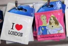 Unofficial souvenir condoms of Britain's Prince William and Kate Middleton are seen in London