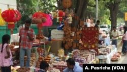 Pavement sellers in New Delhi are all geared up to sell earthen lamps and other decorative items used during Diwali.