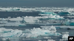 Melting ice at lower Baffin Island, an area around Hudson Strait and the Labrador Sea (file photo).