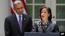 Presiden Barack Obama (kiri) saat mengumumkan penunjukan Susan Rice sebagai penasihat keamanan nasional presiden, Rabu (5/6).