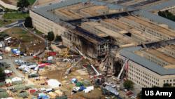 2001년 9월 14일 촬영한 미국 워싱턴의 국방부 건물.