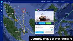 북한산 석탄을 싣고 항해 중인 '동탄호'의 6월 3일 현재 위치(붉은 원). 말레이시아에서 입항 허가를 받지 못하고 출발지 인도네시아로 남하하던 배가 인도네시아에서도 입항하지 않은 채 다시 북상 중인 것으로 나타났다. 마린트래픽(MarineTraffic) 제공.