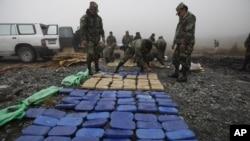 Cocaína apreendida em La Paz, capital da Bolívia