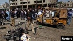 Lokasi bom di Delhi Colony, Karachi di Pakistan (25/4).