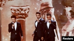"The band Il Volo representing Italy performs the song ""Grande Amore"" during the first dress rehearsal for the final of the upcoming 60th annual Eurovision Song Contest In Vienna, May 22, 2015."