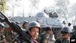 경계선지역에 배치된 캄보디아 군