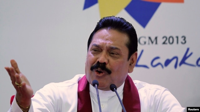 Sri Lanka's President Mahinda Rajapaksa speaks during a pre-CHOGM (Commonwealth Heads of Government Meeting) news conference in Colombo, Nov. 14, 2013.