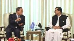 بان کی مون به نشانه پشتيبانی از سيل زدگان وارد پاکستان شد