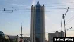 在莫斯科的天然氣工業公司總部。(美國之音白樺拍攝)