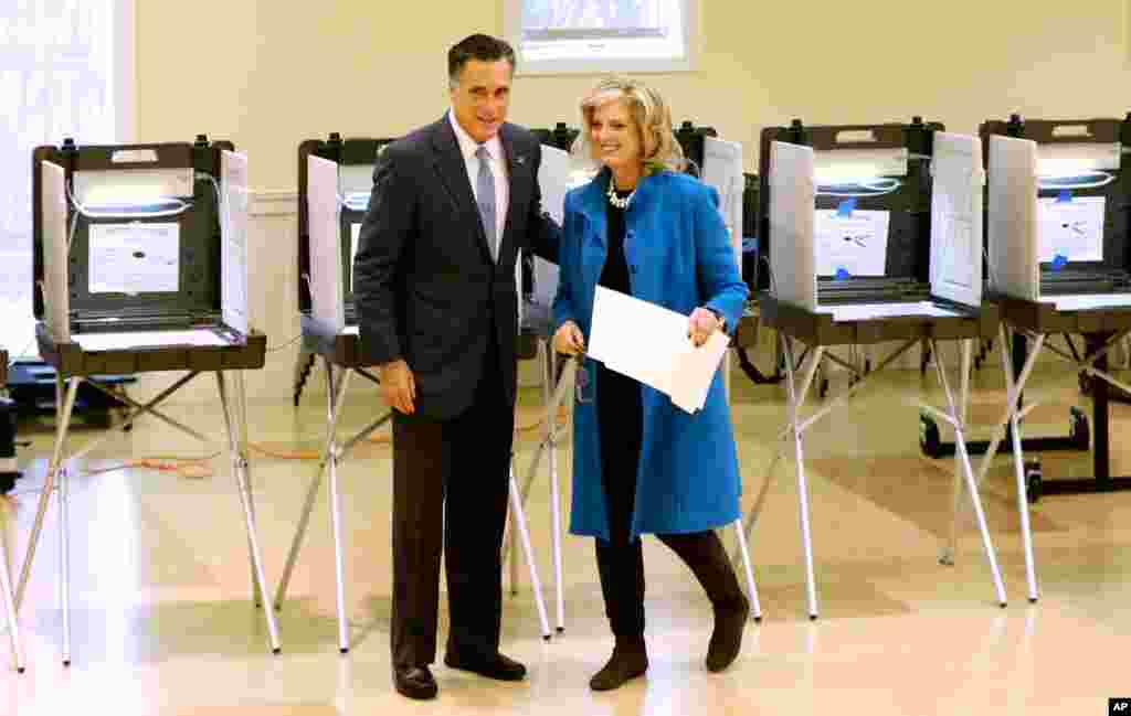 Mitt Romney and wife Ann Romney vote in Belmont, Massachusetts