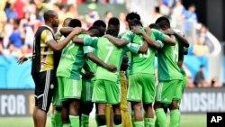 L'équipe du Nigeria lors d'un match contre la France, Brésil, le 30 juin 2014