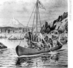 """A drawing of Lewis and Clark expedition, also known as the """"Corps of Discovery."""""""