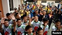 Đội bóng thiếu niên Thái hôm 18/7/2018.