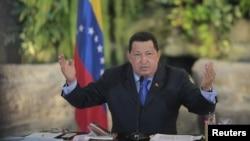 El presidente de Venezuela, Hugo Chávez, durante una conferencia de prensa este miércoles 1 de agosto, en donde se refirió a la Corte IDH y a la venta de petróleo al Mercosur.
