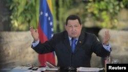 El presidente de Venezuela, Hugo Chávez, durante una conferencia de prensa en donde se refirió a la CorteIDH y a la venta de petróleo al Mercosur.
