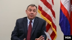US Ambassador to Cambodia William A. Heidt talks to VOA Khmer about the importance of US-Cambodia relations at the U.S. Embassy in Phnom Penh, Cambodia on February 10, 2016. (Nov Povleakhena/VOA Khmer)