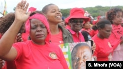 Movement for Democratic Change (MDC) supporters attending a tribute to their party leader Morgan Tsvangirai, Feb. 19, 2018. Tsvangirai died in South Africa after a two-year battle with colon cancer.