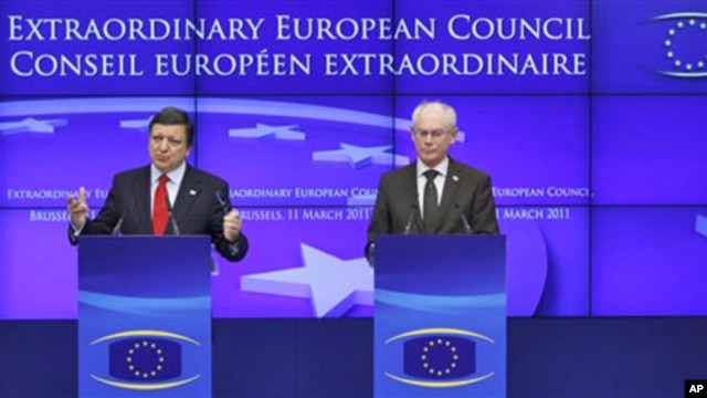 European Commission President Jose Manuel Barroso, left, and European Council President Herman Van Rompuy participate in a media conference at an EU Summit in Brussels, March 12, 2011