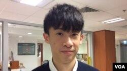 """""""香港民族阵线""""发言人梁颂恒(美国之音记者申华拍摄"""