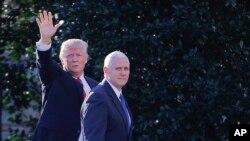 美国总统川普与副总统彭斯。(2017年1月25日)