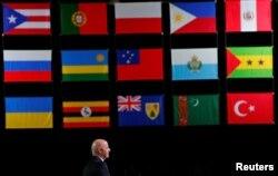 Le président de la FIFA, Gianni Infantino, prononce un discours lors du 68e Congrès de la FIFA à Moscou, en Russie, le 13 juin 2018.