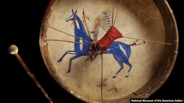 Detail from a Lakota painted drum from the 1860s