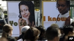Public service posters in English and Spanish in 2011 for a program to provide young women in South Los Angeles with home-testing kits for sexually transmitted diseases. Los Angeles County had the highest number of chlamydia cases and the second-highest n