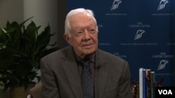 Former President Jimmy Carter talks to VOA's Kane Farabaugh at the Carter Center in Atlanta.