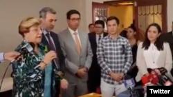 La Comisionada de la Comisión Interamericana de Derechos Humanos (CIDH), Esmeralda Arosemena, en foto de archivo del 21 de abril de 2017. Arosemena se encuentra en Quito, Ecuador, presidiendo un equipo de la CIDH que investigará el asesinato de periodistas ecuatorianos a manos de insurgentes colombianos. Foto tomada de un video en la que la funcionaria habla públicamente en una conferencia de prensa.