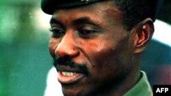 Eddy Kapend moko na baye baketelamaki etumbu ya liwa mpo kufa ya mokonzi ya kala Laurent-Désiré Kabila, tata na président ya kala Joseph Kabil, na Kinshasa, 16 janvier 2001.