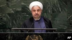 Presiden Iran Hasan Rouhani memberikan pidato pada pidato di Sidang Umum PBB hari Kamis (22/9).