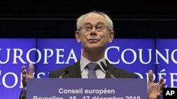 欧洲理事会主席范龙佩在欧盟峰会的记者会上(资料照片)