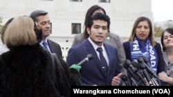 Jirayuth Latthivongskorn, a DACA recipient, speaks to the press after the Supreme Court's hearing