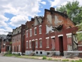 Abandoned houses are a common sight in the Old North St. Louis neighborhood.