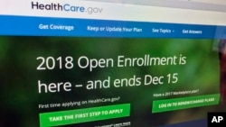 """FILE - The HealthCare.gov website, which administers a health insurance program known as """"Obamacare"""" is photographed in Washington, Dec. 15, 2017."""