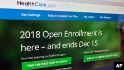 """Situs """"The HealthCare.gov"""" pengelola asuransi kesehatan yang dikenal dengan nama """"Obamacare"""", 15 Desember 2018."""