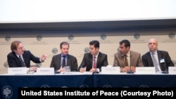 "VOA Director David Ensor (far left) moderates the panel discussion ""The Future of Media in Afghanistan"""