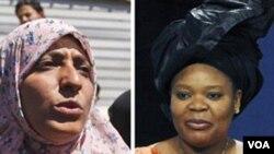 Penganjur hak asasi Yaman Tawakkul Karman (kiri) dan pegiat perdamaian Liberia Leymah Gbowee meraih Nobel Perdamaian 2011.