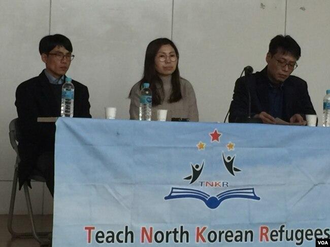 지난 6일 탈북자들이 TNKR이 주최한 북한 인권문제 포럼에서 증언하고 있다. 왼쪽부터, 지난 11월 아내와 아들이 북송된 이태원 씨, 탈북 작가 지현아 씨, KAL기 납치피해자 송환을 위한 대책협의회 황인철 대표.