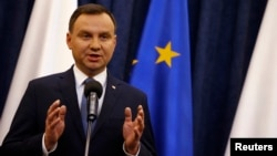 Poland's President Andrzej Duda speaks at the Presidential Palace in Warsaw, Poland, Dec. 28, 2015.